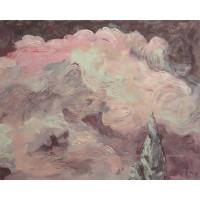 Ružová obloha. Maľba na plátne