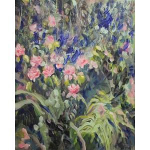 V záhrade. Maľba na plátne