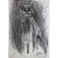 Mačka. Maľba na papieri