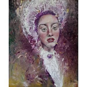 Fialová pani. Maľba na plátne