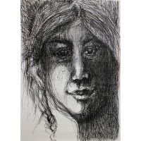 Portét dievčaťa. Maľba na papieri